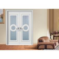Quality Double Glass MDF Board Doors , Office BuildingPVC Coated MDF Interior Doors for sale