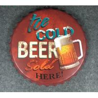 China Wall Hanging Beer Bottle Cap Sign Tin Sign Restaurant wall hanging ancient beer bottle cap on sale