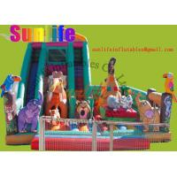 Quality inflatable animal zoo funny castle with a big slide for sale