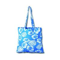 China fashion full area printing blue 100% cotton tote shopping bag for women on sale