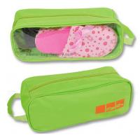 Quality 600D Polyester Travel Shoe Storage Bag Slippers Packaging Organizer Pouch With Transparent PVC Window for sale