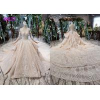 Quality Tulle Wedding Bridal Ball Gowns Long Sleeves V Neckline Lace Applications for sale