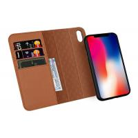 Quality IPhone 10 Brown Apple iphone Leather Case With Wake Function Detachable for sale