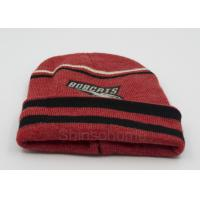 Quality Custom Red Black Cotton Beanie Hats Knitting , Winter Caps For Men / Women for sale