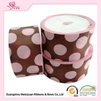 Quality 50 Mm Custom Grosgrain Ribbon Printing , Pink Dots & Red Dots Silk Grosgrain Ribbon for sale