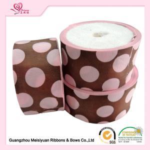 Quality 50 Mm Custom Grosgrain Ribbon Printing , Pink Dots & Red Dots Silk Grosgrain Ribbon for sale