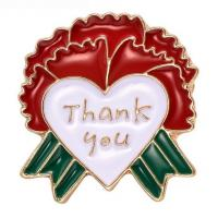 """Quality Mother's Day best gift """"Thank You"""" letter heart and carnation brooch TJ0109 for sale"""