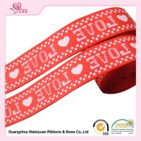 Quality 2cm Red Printed Heart valentine Grosgrain Ribbon silk Screen process for sale