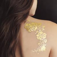 Quality Gold Rose Metallic Temporary Tattoo , Customized Beautiful Flower Tattoos for sale