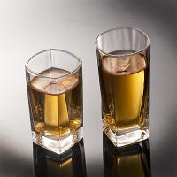 China Round Tea Whiskey Glass Cups Square Glass Water Cup CIQ EEC Approved Transparent on sale