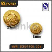 Quality 23mm & 17mm high polished gold military sewing shank buttons in shiny gold color for sale