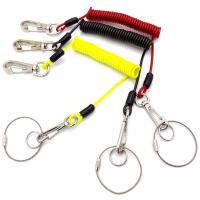 Quality Plastic Coated Coiled Wire Cable Carabiner Key Chain Lanyard Hight Tension Retractable for sale