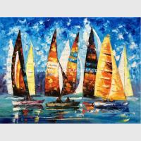 Quality Abstract Sailing Ship Oil Painting by palette knife / Hand Painted Thick Oil Painting for sale