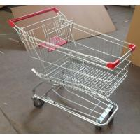 Quality Grocery Shopping Trolley Wire Basket Cart Zinc Coated Elevator Wheels With Seat for sale