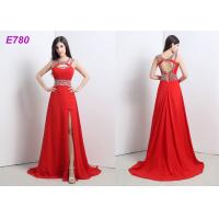 Quality Red Slit Sexy Cocktail Party Dress Beading Chiffon Dress For Evening Dress for sale