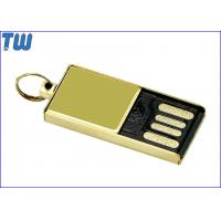 Quality Tiny Delicate Glossy Golden Metal 4GB Flash Drive Free Key Ring for sale