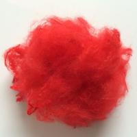 China 3D*32MM Dope Dyed Red Polyester Raw Material For Artificial Fake Fur on sale