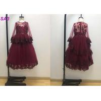 Quality Blossom Inspired Wine Red Childrens Flower Girl Dresses With Long SleeveS Beaded for sale