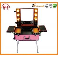 Quality ABS aluminum materail case makeup case with handle lights and mirror produced by Chinese suppliers for sale