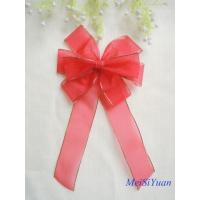 Gold Edge wired Christmas ribbon bows / ribbon christmas wreath 30cm OEM / ODM Available