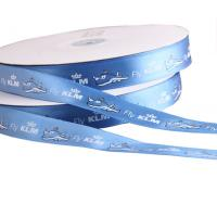 Quality custom cheap blue christmas Polyester satin ribbon sale with logo factory for sale