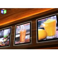 Quality Fast Food A2 Slim LED Illuminated Menu Boards Crystal Lightbox Wall Mounted for sale