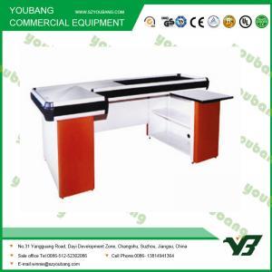 Quality Durable Electric Supermarket Checkout Counter Cashier Desk 2000 * 1200 * 850mm for sale
