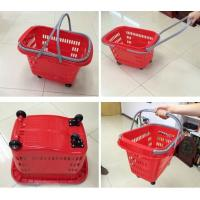Quality Red HDPP Shopping Basket With Wheels , Supermarket Plastic Storage Shopping Basket for sale