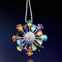 Quality Rhodium-plated Silver Pendant, Decorated with Zirconia Stones for sale