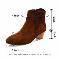 China Women Shoes Ankle Boots Suede Leather Low Heels Black/Brown on sale
