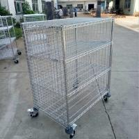 Quality Industrial Five Shelf Wire Utility Cart With Enclosures Three Sides Mesh for sale