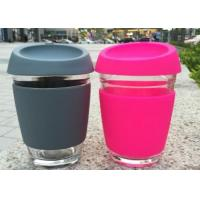 Quality Customize Glass Coffee Cup With Silicon Lid / Drinking Glass Cup With Silicon Case for sale