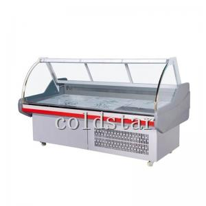 Quality Commercial Curved Glass Deli Counter Refrigerator Meat Refrigeration Equipment Display Case for sale