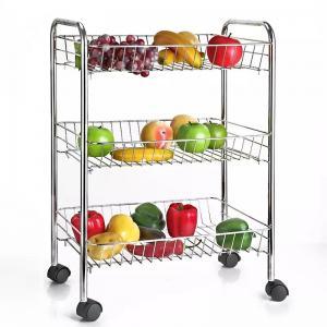 Quality H289 Stainless Steel Metal Trolley Cart 3 Tier On Wheel Vegetable / Fruit Rack for sale