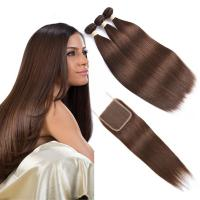 Quality Brown Color Ombre Human Hair Extensions / Straight Hair Weave With 4X4 Closure for sale