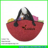 Quality red color lady straw tote bags crochet raffia bags for sale
