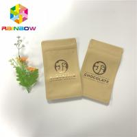 Quality UV Printing Three Side Sealed Zipper Craft Paper Bags For Chocolate Bar Packing for sale