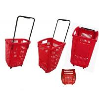 Quality 2 Wheels Plastic Rolling Shopping Basket For Supermarket Storage Used for sale