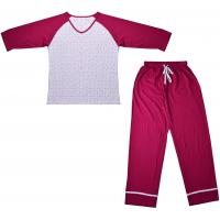 Embroidered Womens Cotton Knit Pajamas / Ladies Loungewear Sets Any Color Available