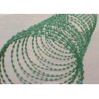 Quality Green 22 Mm Length Flat Razor Wire / Concertina Razor Coil With Galvanized Surface for sale