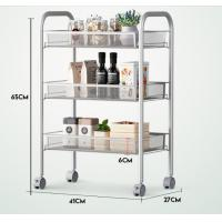 """Quality Silver Kitchen Basket Rolling Cart Wire Storage Shelves With Wheels 11"""" Deep for sale"""