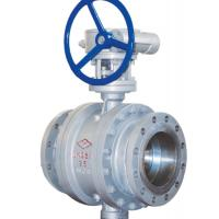 Quality 3 Way Cast Steel Ball Valve / 4 Inch Flanged Ball Valve PN 25 Worm Gear for sale