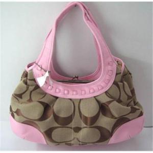 Quality Coach handbag hobo bag shoulder bag pink canvas with leather for sale