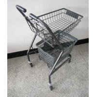 Quality Japanese Style Supermarket Steel Folding Shopping Basket Trolley / Push Cart for sale