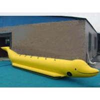 Quality Custom Single Inflatable Water Games Shark Boat For 6 People In Yellow Color for sale
