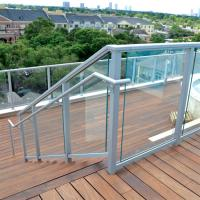 Quality Durable exterior balcony aluminium handrail tempered glass stair balustrade for sale