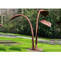 Quality Modern Style Corten Steel Sculpture Abstract Outdoor Garden Leaf Sculpture for sale