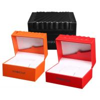Quality High Glossy Orange PU Leather Watch Box Custom LOGO Printing Environmentally Friendly for sale
