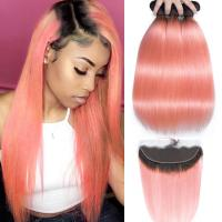 Quality Pink Front Ombre Human Hair Extensions Silk 10A Grade Tangle Free for sale