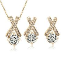 Quality Unique Crystal wedding jewelry sets 2 colors bridal jewelry set TJ0125 for sale